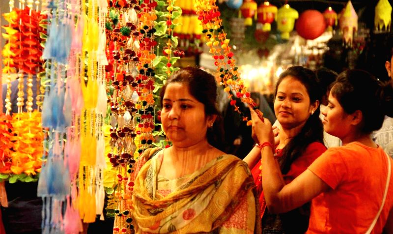 People busy with Diwali shopping.