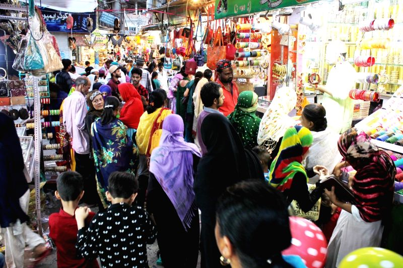 People busy with Eid shopping in Nagpur, on June 15, 2018.