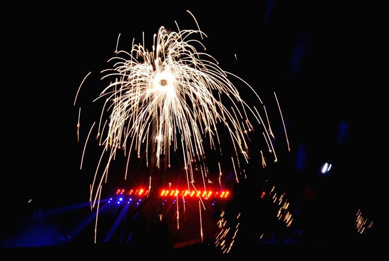 People celebrate Diwali with fireworks in Kolkata