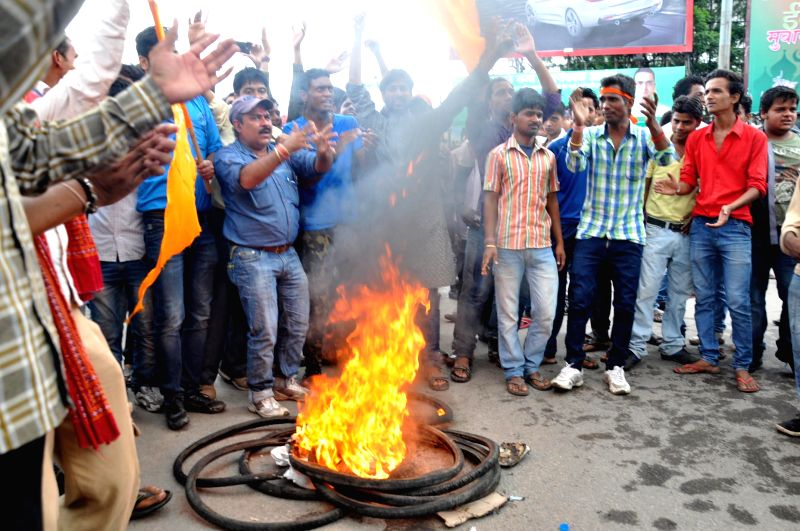 People demonstrate against `Chanho Communal Riots` during Ranchi Bandh on July 31, 2014.
