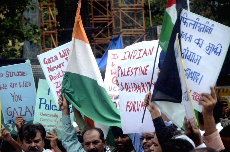 People demonstrate in front of Israeli Consulate General in Mumbai against Israeli attacks on Gaza on July 13, 2014.