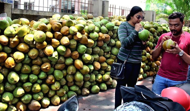 People drink tender coconut water to beat the heat in Bengaluru, on April 18, 2017.