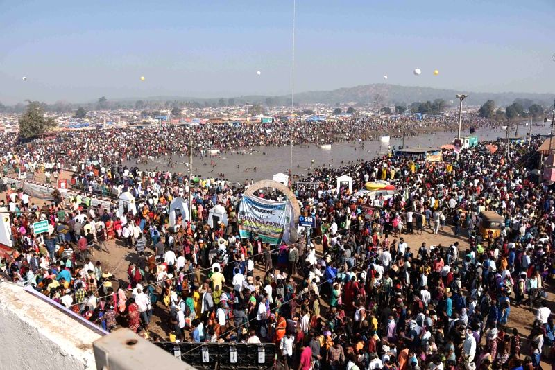 People during Medaram Samakka Sarakka Jatara festival in Warangal, Telangana  on Feb 1, 2018.