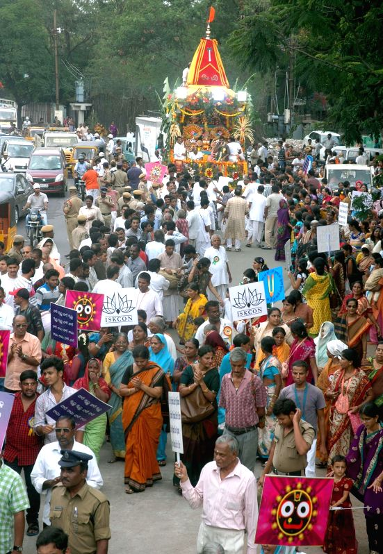 People during the ISCON Rath Yatra festival at Secunderabad on June 28, 2014.