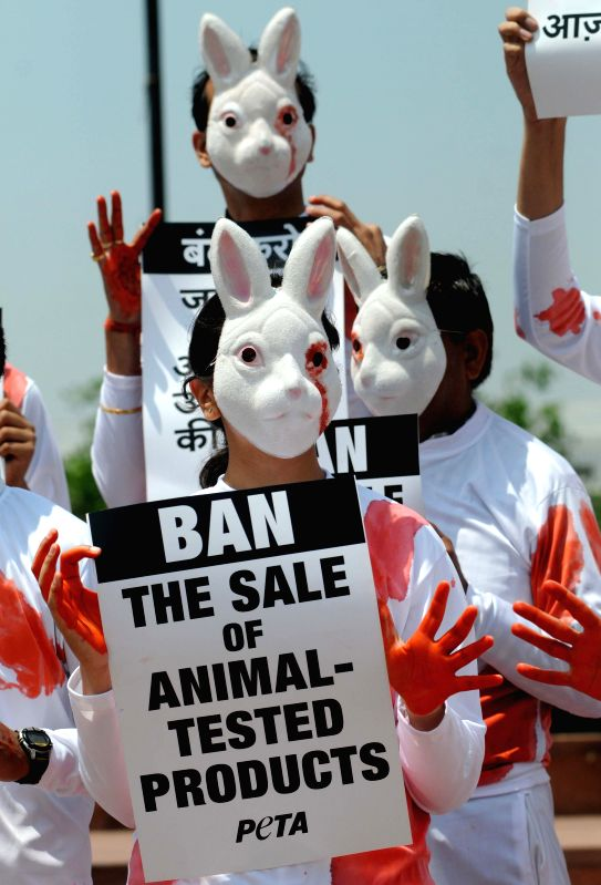 People for the Ethical Treatment of Animals (PETA) activists demonstrate to press for ban on animal tested products in New Delhi on April 18, 2014.
