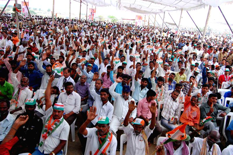 People gather at Congress president Sonia Gandhi's rally at Chevella Parliamentary Constituency near Hyderabad  on April 27, 2014.