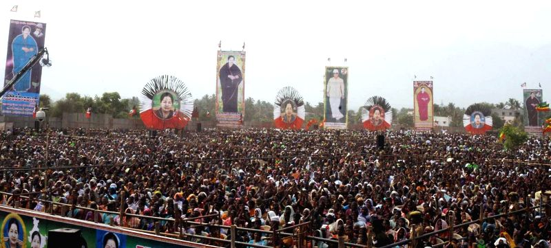 People gather during a rally of Tamil Nadu Chief Minister and AIADMK supremo J Jayalalithaa in Mettupalayam of Tamil Nadu on April 10, 2014.