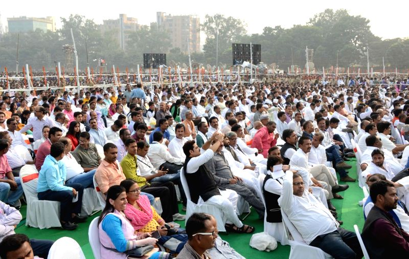 People in large numbers gather at the swearing-in ceremony of the new JD-U-RJD-Congress coalition government in Patna, on Nov 20, 2015.
