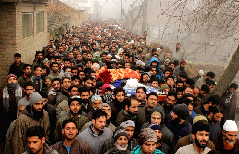 People in large numbers participate in the funeral procession of an alleged militant who was killed in a shootout with the security forces in Jammu and Kashmir's Pulwama district on 8th ...
