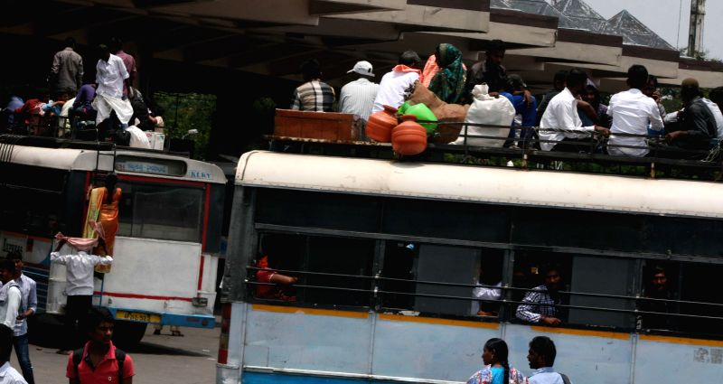 People leave for their native places to be present during Intense Household Survey-2014 which will be conducted on19th August, 2014; in Hyderabad on Aug 18, 2014.