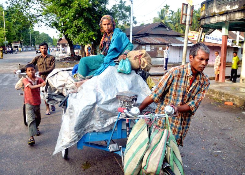 People making use of any available conveyance for moving to safer places with their belongings even as administration has deployed security forces in trouble torn areas of BTAD after violence hit the