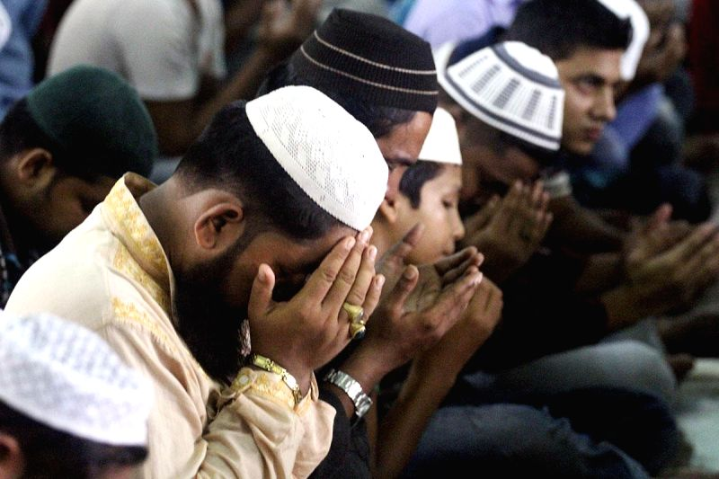 People offer Namaz at a mosque during Ramadan in Bangladesh on July 4, 2014.