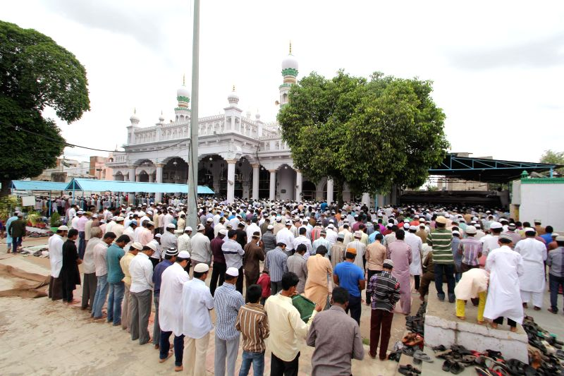 People offer Namaz at Chowk-Ki-Masjid during Ramadan in Hyderabad on July 11, 2014.