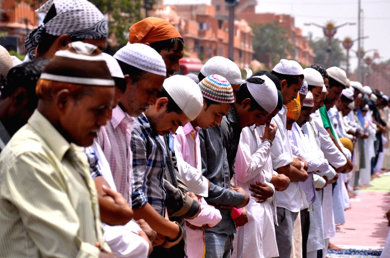 People offer Namaz at Jama Masjid during Ramadan in Johri Bazar of Jaipur on July 4, 2014.