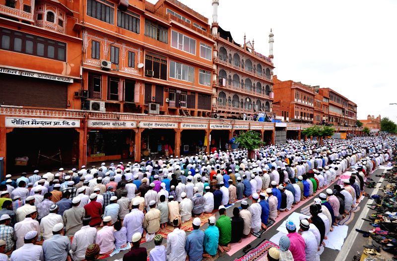 People offer Namaz at Jama Masjid during Ramadan in Johri Bazar of Jaipur on July 18, 2014.