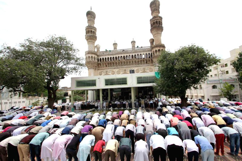 People offer Namaz at Jamia Masjid Qutub Shahi during Ramadan in Hyderabad on July 18, 2014.