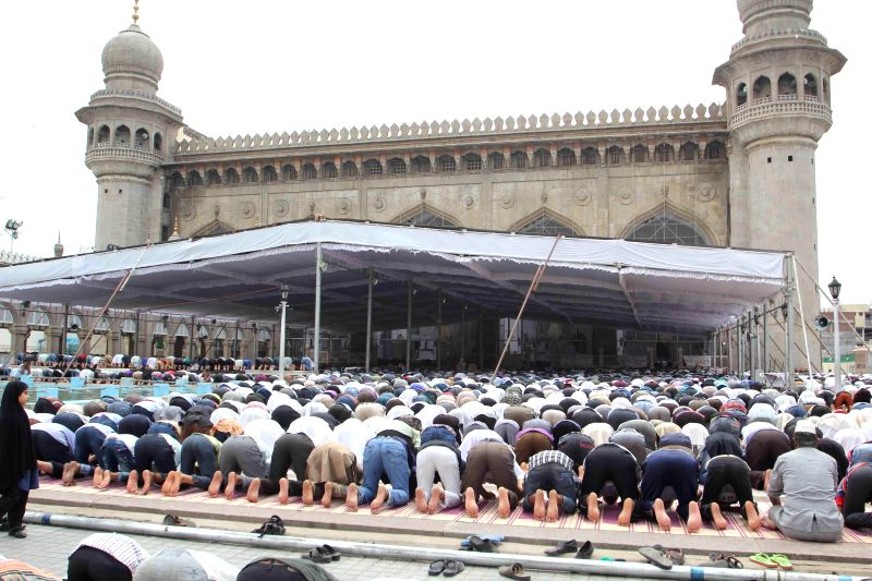 People offer Namaz at Mecca Masjid during Ramadan in Hyderabad on July 4, 2014.
