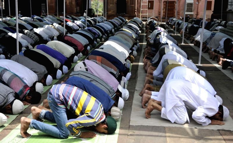 People offer Namaz at Moti Masjid during Ramadan in Bhopal on July 11, 2014.