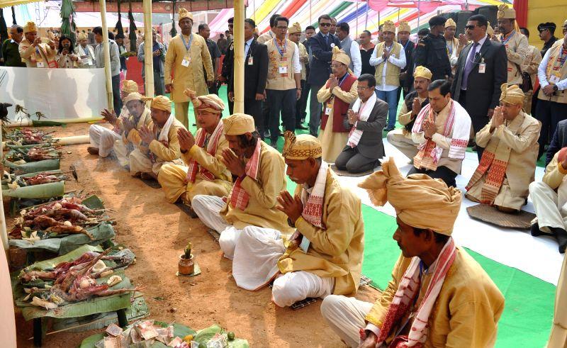 People offer prayer on the occasion of Me Dam Me Phi - Ancestor Worship at Srimanta Sankardeva Kalakshetra in Guwahati on Jan 31, 2018. Also seen Assam chief minister Sarbananda Sonowal. - Sarbananda Sonowal