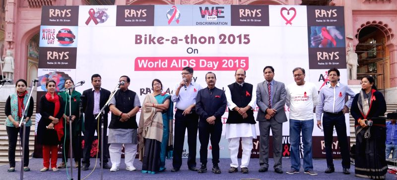 People participate in a `Bike-a-thon` organised by RAYS- Aasha ki ek Kiran on World AIDS day in Jaipur, on Dec 1, 2015.
