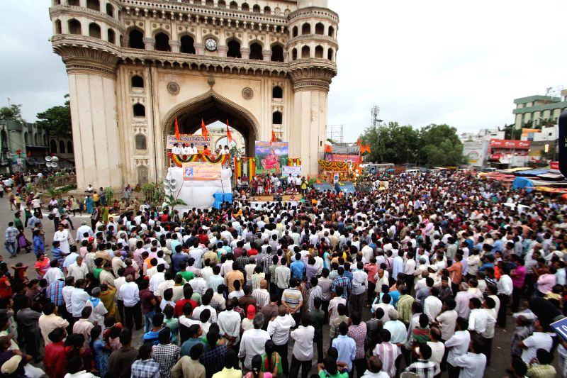 People participate in a Bonalu procession in Hyderabad on July 21, 2014.