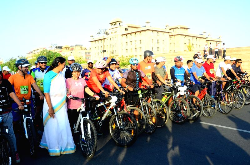 People participate in a cycle rally organised on World Environment Day in Jaipur, on June 5, 2017.