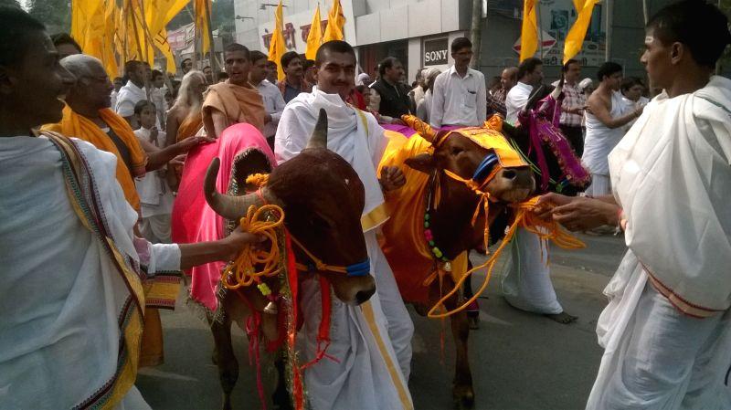 People participate in a procession organised on Gopastami in Varanasi, on Nov 19, 2015.