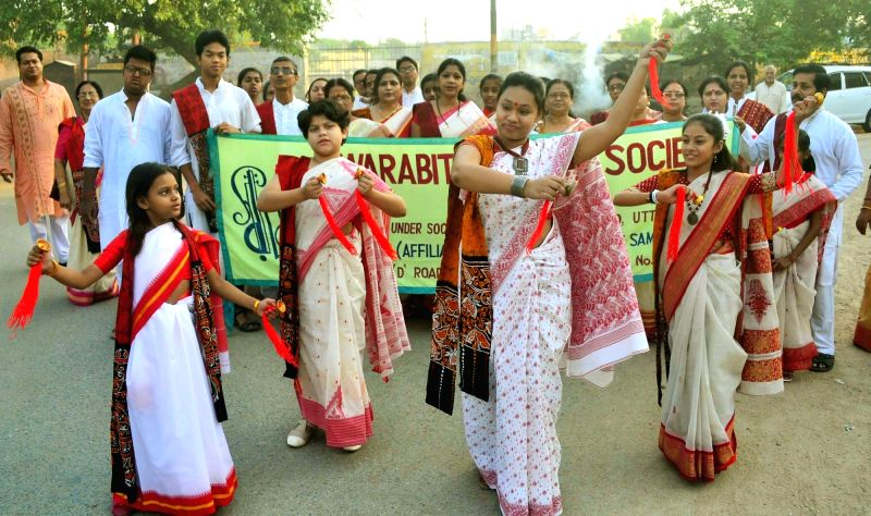 People participate in a programme organised on Rabindra Jayanti - birth anniversary of Rabindranath Tagore in Allahabad, on May 8, 2016.