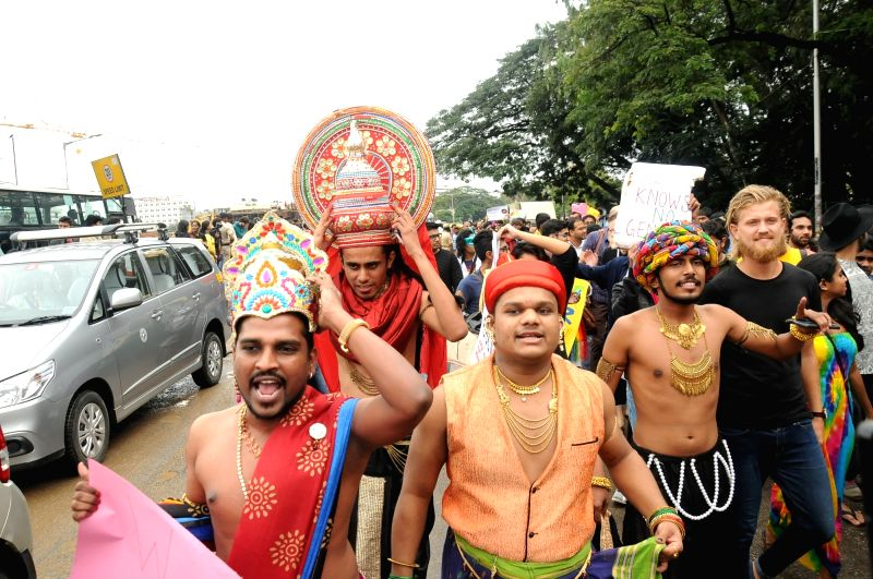 People participate in Bengaluru Pride March and Karnataka Queer Habba 2015 in Bengaluru, on Nov 22, 2015.