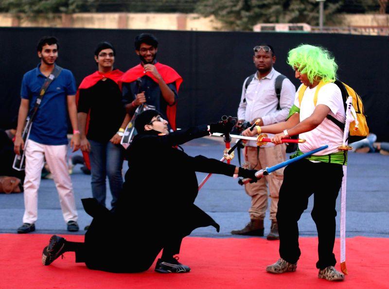 People participate in Comic Con Fest in New Delhi, on Dec 4, 2015.
