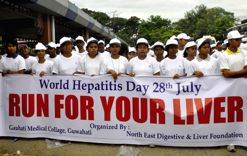 People participate in `Run For Your Liver` an awareness rally organised on the ocassion of World Hepatitis Day organised by Guwahati Medical College and North East Digestive & Liver Foundation in