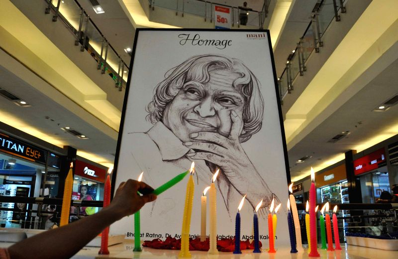 "People pay tribute to former president APJ Abdul Kalam The former president died on Monday in a private hospital in Shillong after he collapsed while delivering a lecture on ""Liveable ..."