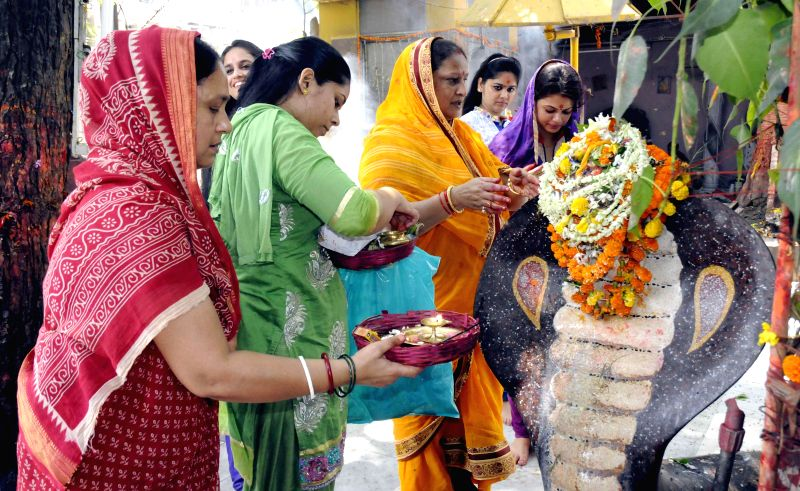 People perform rituals on Naga Panchami in Patna on August 1, 2014.