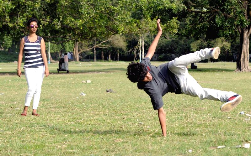 People practice B-boying at Maidan in Kolkata, on May 30, 2016.