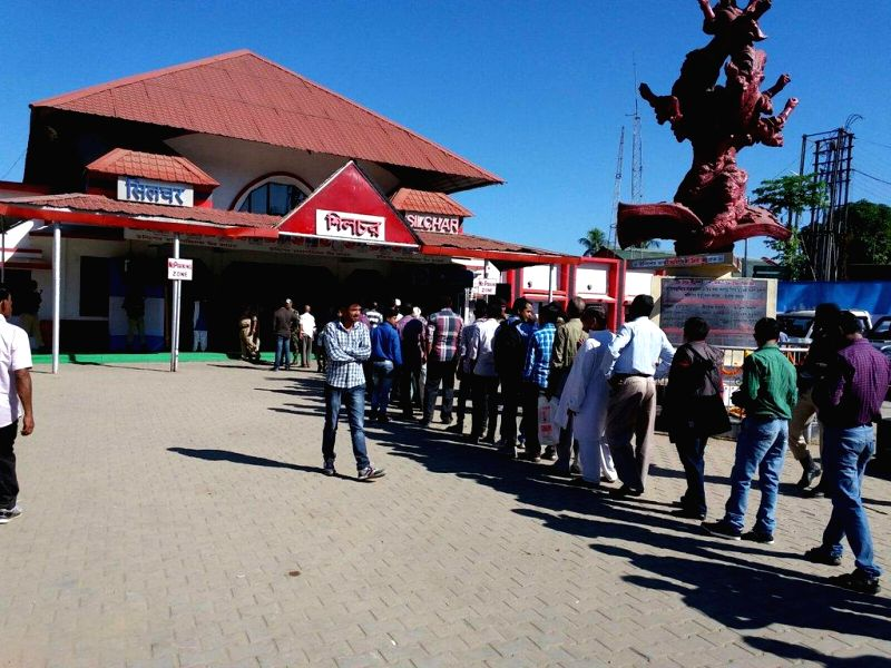 People queue to witnesses historic flag off of first passenger train from Silchar on Saturday.