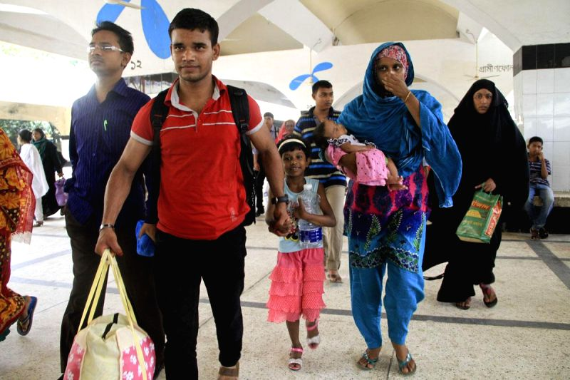 People return back to Dhaka, Bangladesh after spending Eid holidays with family and friends on Aug 3, 2014.