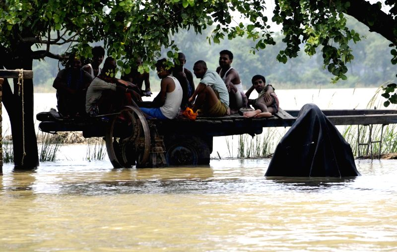 People sitting on a cart in flood affected Patna district of Bihar on Aug 19, 2014.