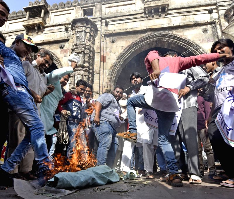 "People stage a demonstration after an Army soldier and a BSF trooper were killed and ""mutilated"" on the LoC in Jammu and Kashmir by Pakistani forces; in Ahmedabad on May 3, 2017."