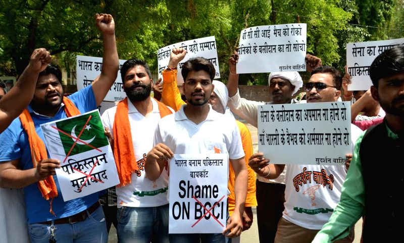 People stage a demonstration against BCCI for continuing with Champions Trophy India-Pakistan match in New Delhi, on May 25, 2017.
