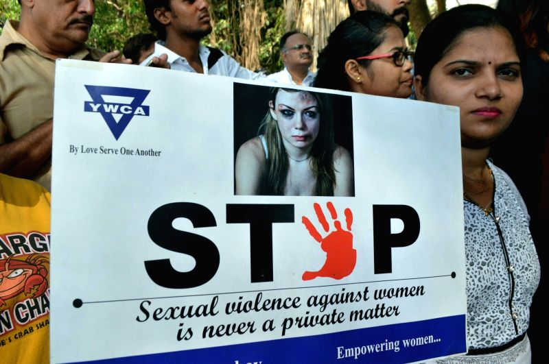 People stage a demonstration to protest against incidents of rape in Unnao (Uttar Pradesh) and Kathua (Jammu and Kashmir) in Mumbai on April 13, 2018.