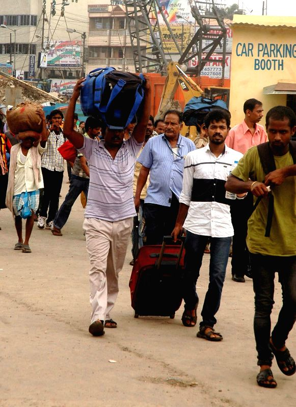 People stranded at Sealdah railway station as taxi drivers go on strike in Kolkata on Aug 7, 2014.