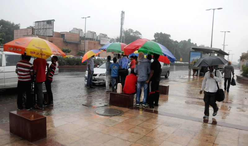 People use large umbrellas to shield themselves from rains in New Delhi on Sept 3, 2014.