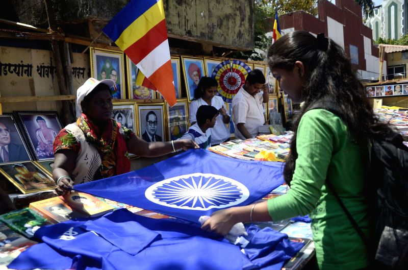 People visit Chaitya Bhoomi to pay tribute to Dr. BR Ambedkar on his birth anniversary in Mumbai on April 14, 2014.