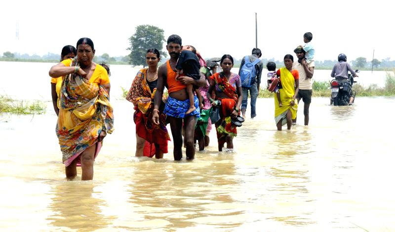 People wade through a flooded road of Patna district in Bihar on Aug 19, 2014.
