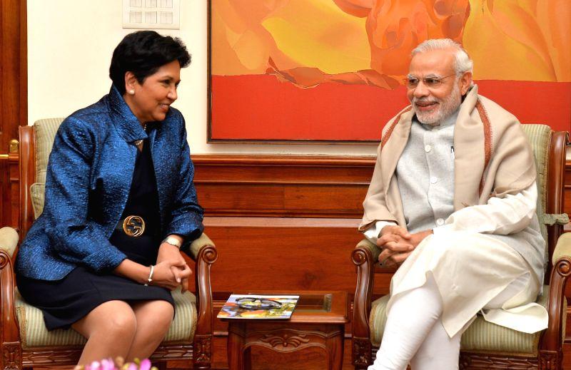 PepsiCo Chairperson and CEO Indra Nooyi calls on Prime Minister Narendra Modi, in New Delhi on Dec 10, 2015. - Narendra Modi