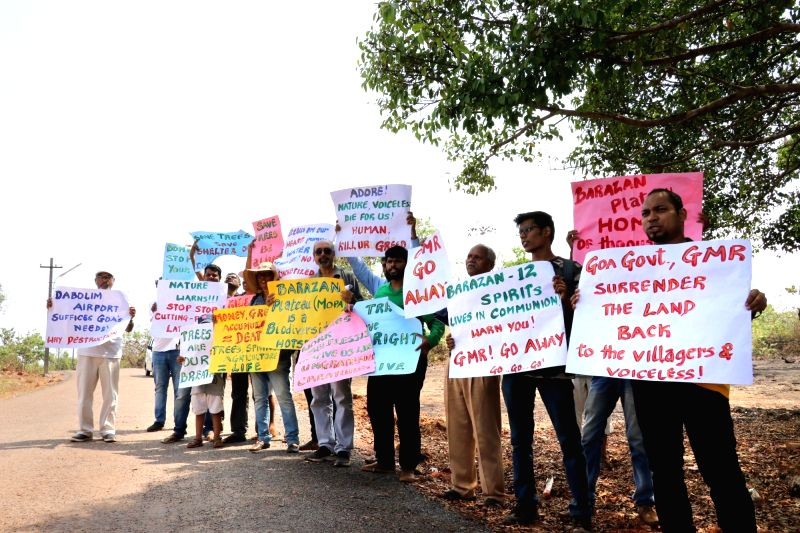 Pernem Taluk: A group of environmentalists and social activists stage a demonstration against deforestation done to build the under-construction Mopa Airport during the visit of Union Civil Aviation ... - Suresh Prabhu