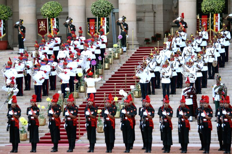 Personnel of the armed forces during a ceremonial change of guard at Rashtrapati Bhavan in New Delhi on April 9, 2014.