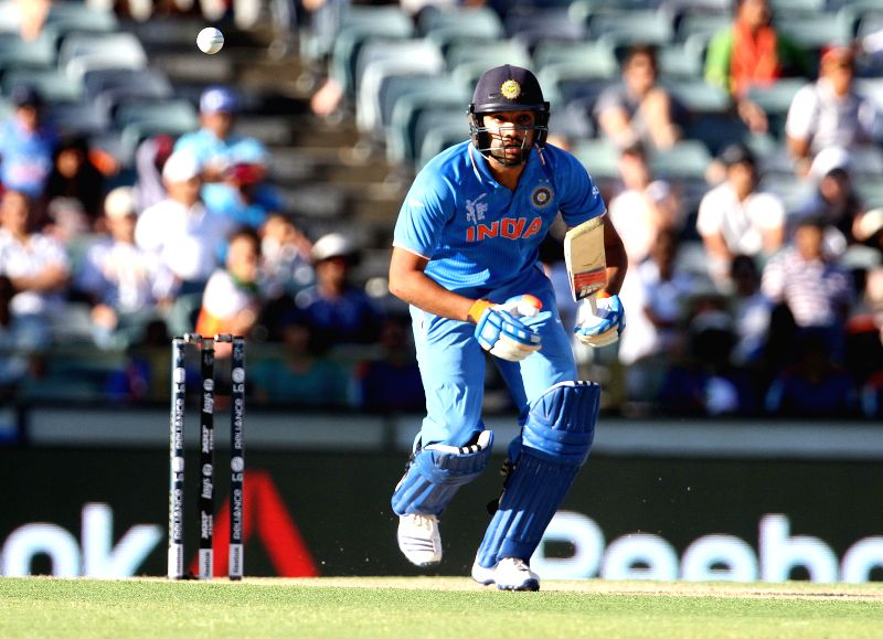 Indian batsman Rohit Sharma in action during an ICC World Cup 2015 match between India and UAE at Western Australia Cricket Association Ground, Perth, Australia on Feb 28, 2015. - Rohit Sharma