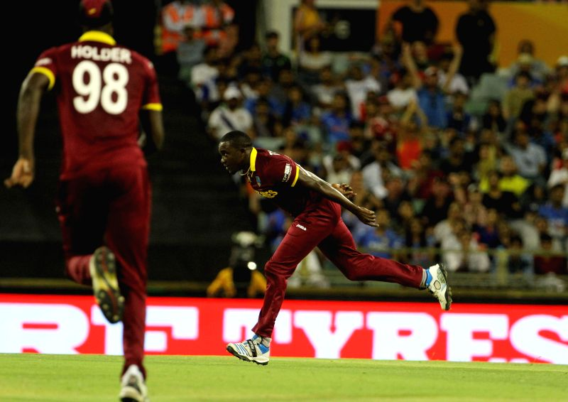 West Indian cricketers during an ICC World Cup 2015 match between India and West Indies at Western Australia Cricket Association Ground, Perth, Australia on March 6, 2015.