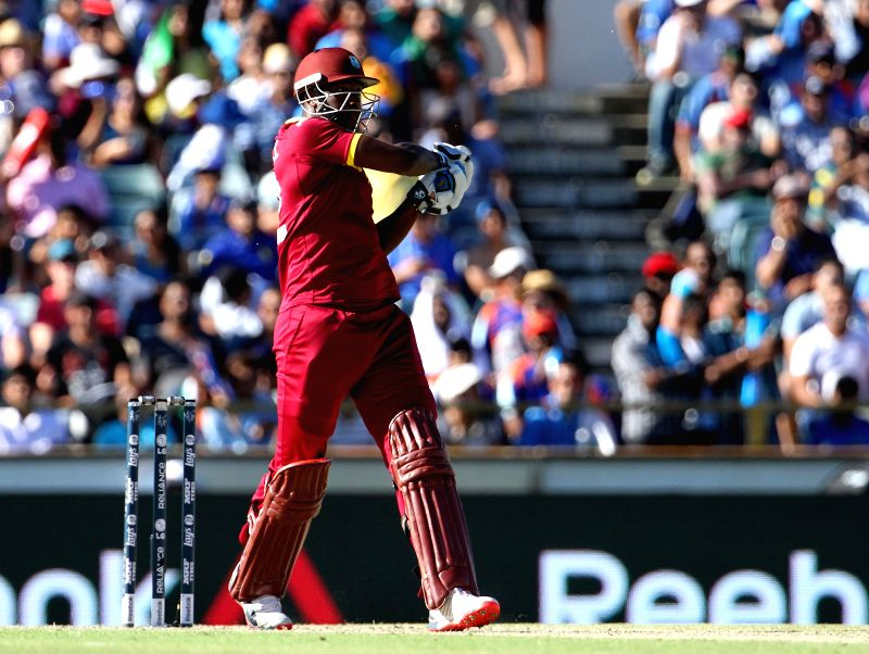 West Indies batsman Chris Gayle in action during an ICC World Cup 2015 match between India and West Indies at Western Australia Cricket Association Ground, Perth, Australia on March 6, 2015. - Chris Gayle